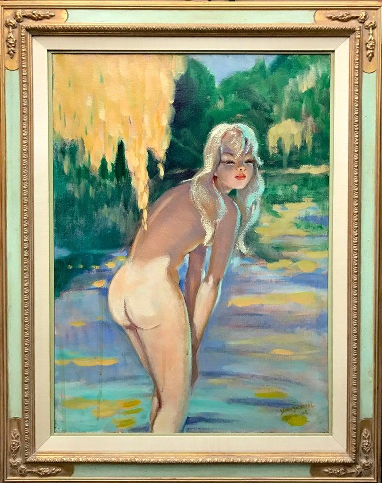 Jean-Gabriel Domergue (French 1889 - 1962);  Nicole; Oil on canvas - Brown Nude Painting by Jean-Gabriel Domergue