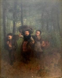 Jean-Baptiste Camille Corot (French 1796 - 1875);  Le Retour; oil on panel