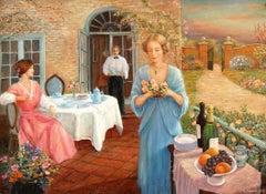 Tea Time; Monique Baudaux; Late 20th; oil on canvas;