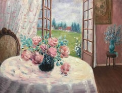Flower Table with View; Monique Baudaux; Late 20th; oil on canvas;