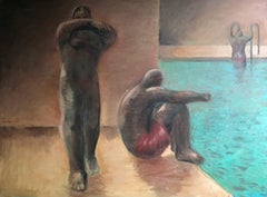 At the pool; Jan Kovaleski; American born 20th c; oil on canvas