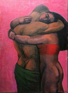 Tednerness; Jan Kovaleski; American born 20th c; oil on canvas