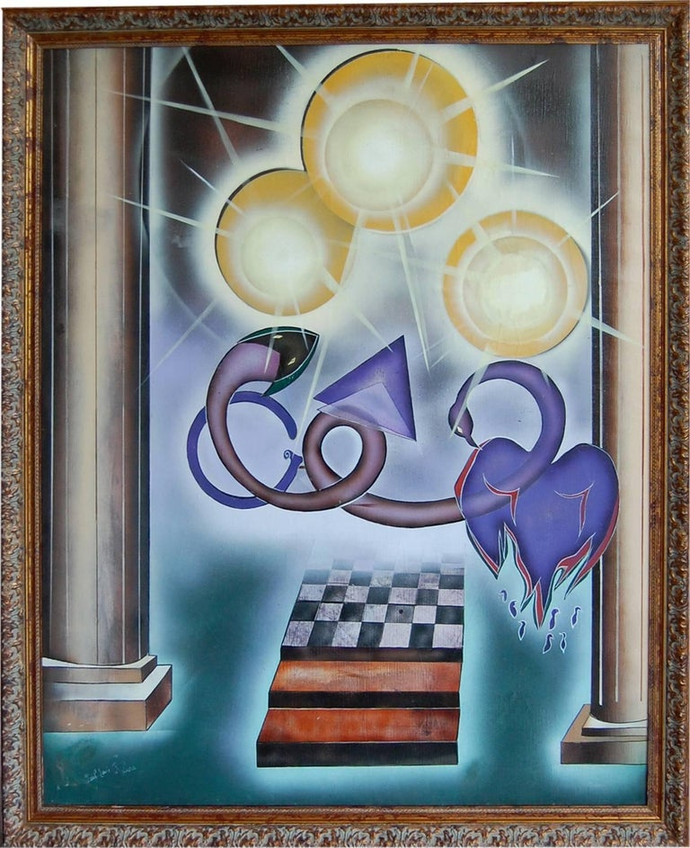Bal de la Tentation; Paul - Louis Rebora; French 20th c; oil on canvas - Painting by Paul-Louis Rebora