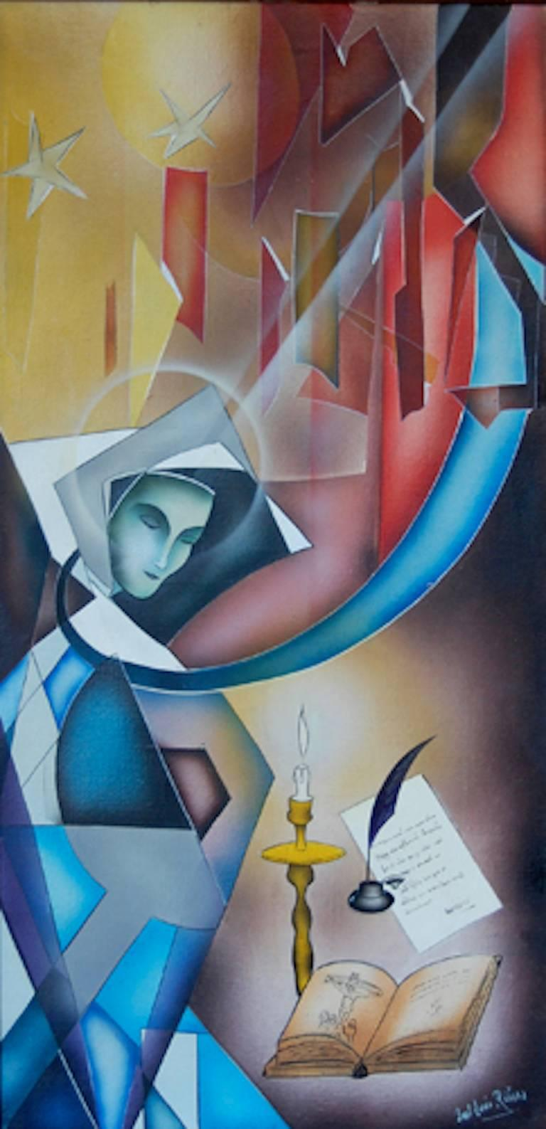 Paul-Louis Rebora Figurative Painting - The Ecstasy of St Therese of Avila ; Paul - Louis Rebora; French 20th c;