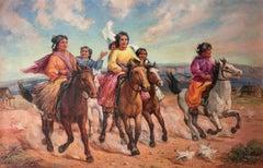 Hen party; Venetia Epler (American 1926 - 2005); oil on canvas