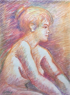 Harry LeMay (American 20th c); Nude with Blonde Hair; pastel on paper