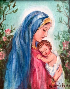 Madonna and Child IV; Venetia Epler (American 1926 - 2005); oil on canvas-board;