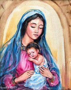 Madonna and Child V; Venetia Epler (American 1926 - 2005); oil on canvas-board;
