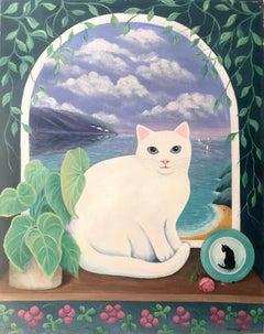 Anne Briggs (British 20th c); Ocean Cat; oil on canvas