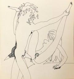 John Boyce (American 1938); Erotic drawing 1; ink on paper; double side