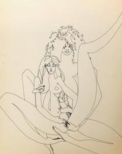 John Boyce (American 1938); Erotic drawing 4; ink on paper;