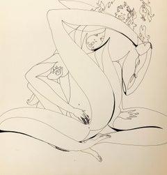 John Boyce (American 1938); Erotic drawing 5; ink on paper;