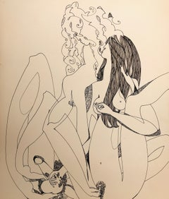 John Boyce (American 1938); Erotic drawing 10; ink on carton paper;