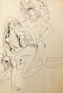 John Boyce (American 1938); Erotic drawing 12; ink on paper; double side;