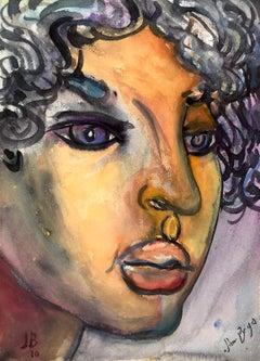 John Boyce (American 1938); Portrait 1; watercolor on paper board