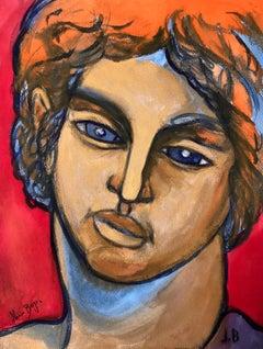 John Boyce (American 1938); Portrait 5; watercolor on paper board