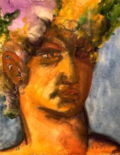 John Boyce (American 1938); Portrait 7; watercolor on paper board