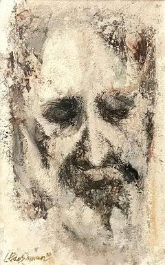 Len Poteshman (American 1924 - 2014); Portrait; acrylic/mixed medium on board