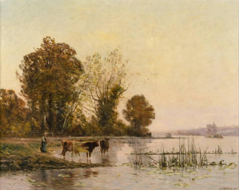 Hippolyte Camille Delpy Landscape Painting - Peasant with her Cows at the River