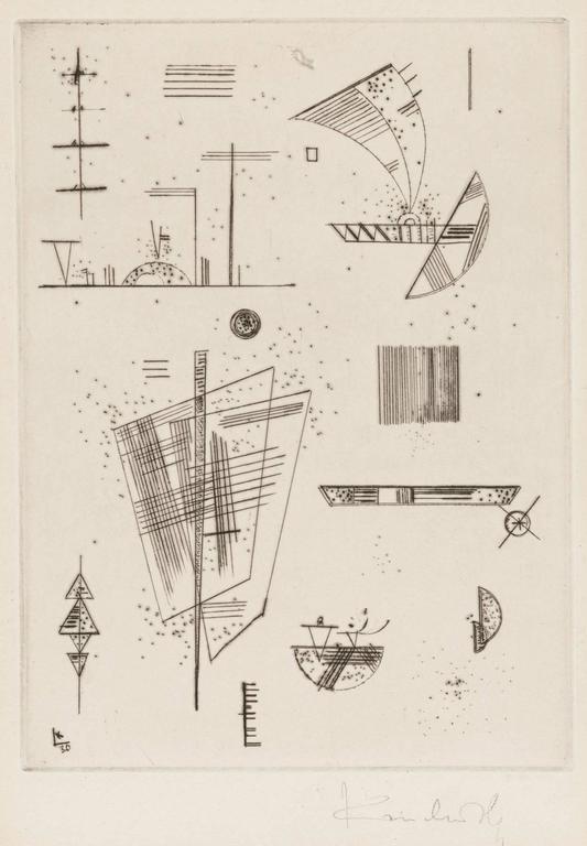 Wassily Kandinsky Abstract Print - ERSTE KALTNADEL FÜR DIE EDITIONS CAHIER'S D' ART