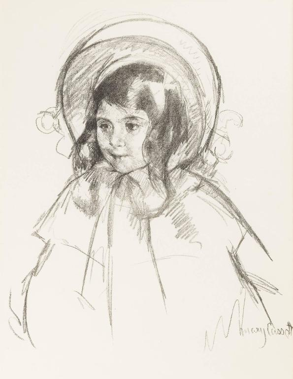Mary Cassatt Figurative Print - Sara Wearing Her Bonnet and Coat