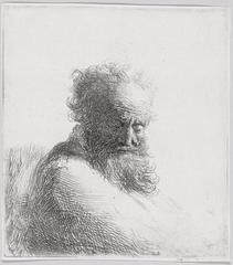 Rembrandt Harmensz. van Rijn - Bust of an Old Bearded Man, Looking Down, Three Quarters Right