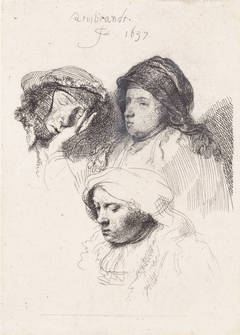 Three Heads of Women, One Asleep