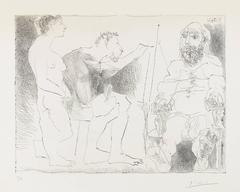 PEINTRE AU TRAVAIL (Peintre avec un modèle barbu et une spectatrice)