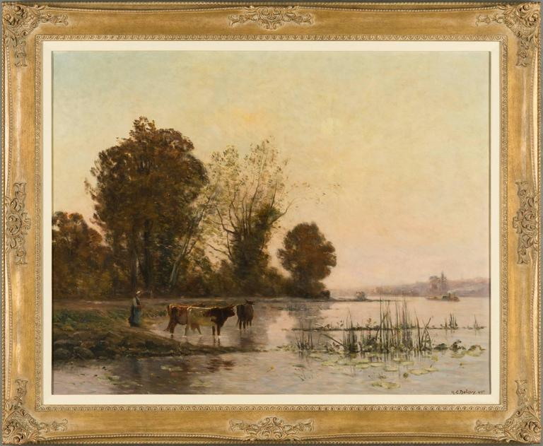 Peasant with her Cows at the River - Painting by Hippolyte Camille Delpy
