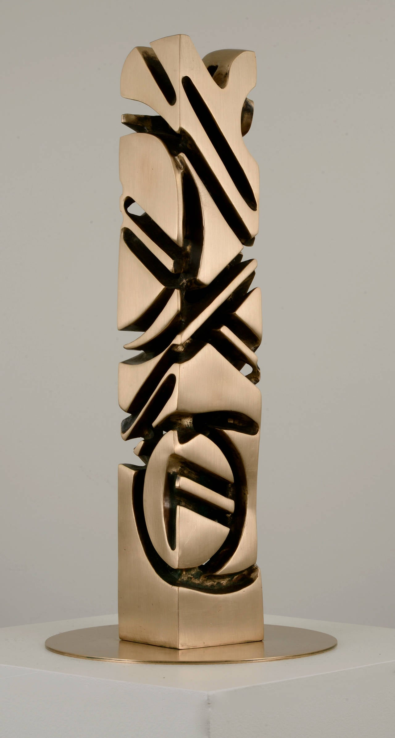 Nathaniel Hesse Totem Abstract Bronze Sculpture For