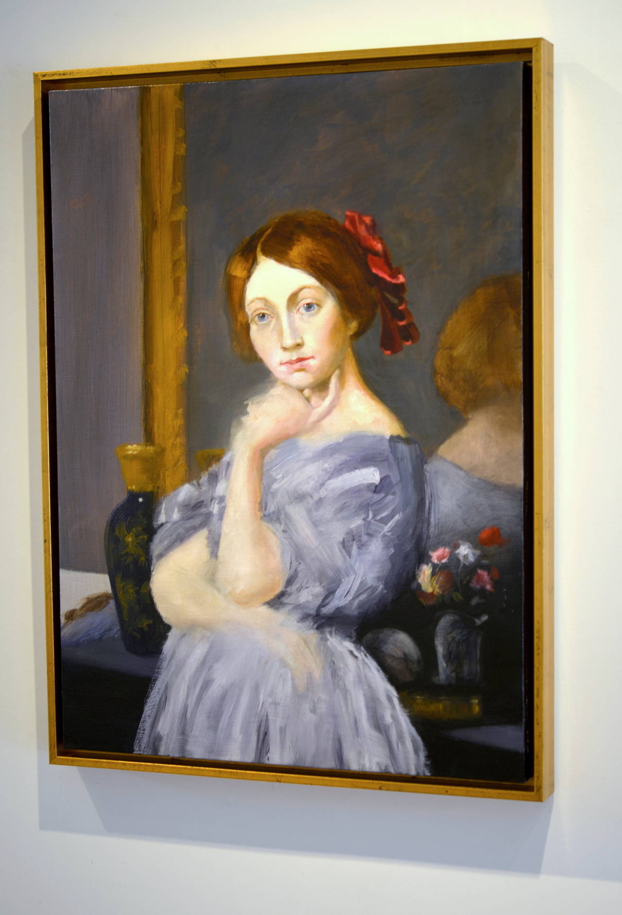 The Red Ribbon (after Ingres) - Painting by Elise Ansel