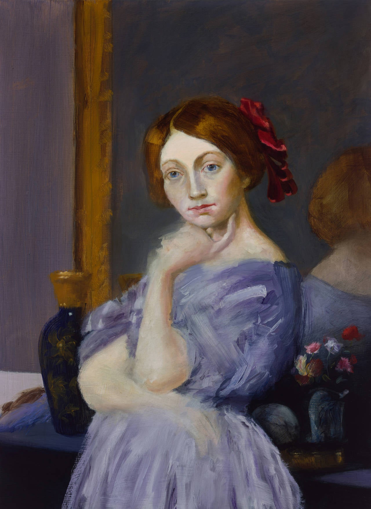 Elise Ansel Portrait Painting - The Red Ribbon (after Ingres)