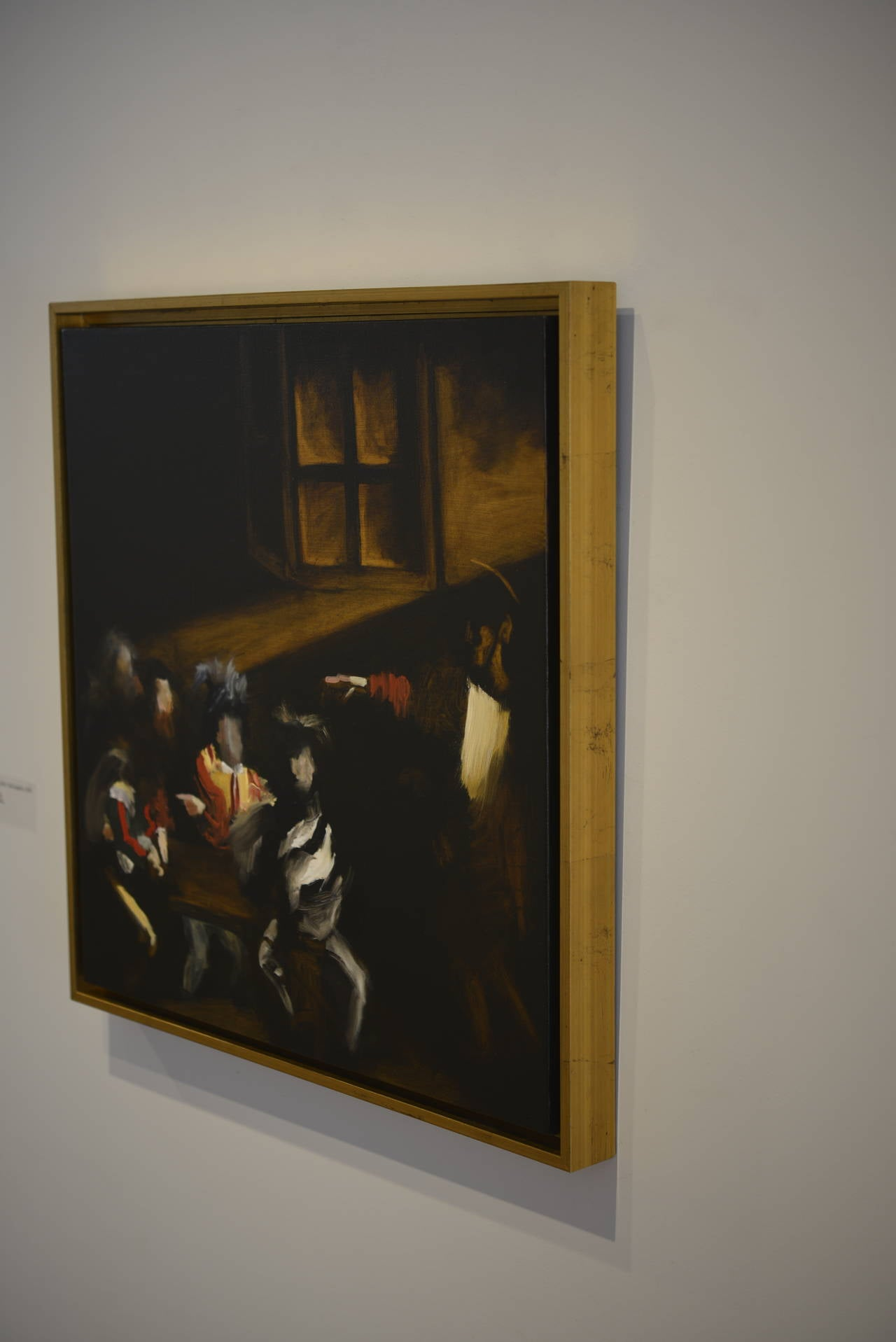 """24 x 24 inches oil on canvas A contemporary take on Caravaggio's """"The Calling of Saint Matthew"""", 1599-1600"""