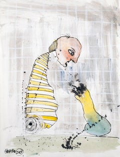'Telepathy', Michael Hafftka. Figurative watercolor of humanoid & phallic object