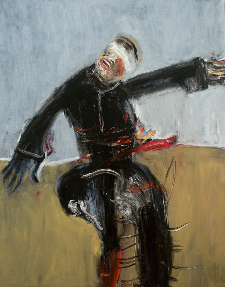 Blindfolded Hasid, expressionistic figurative painting set in war landscape