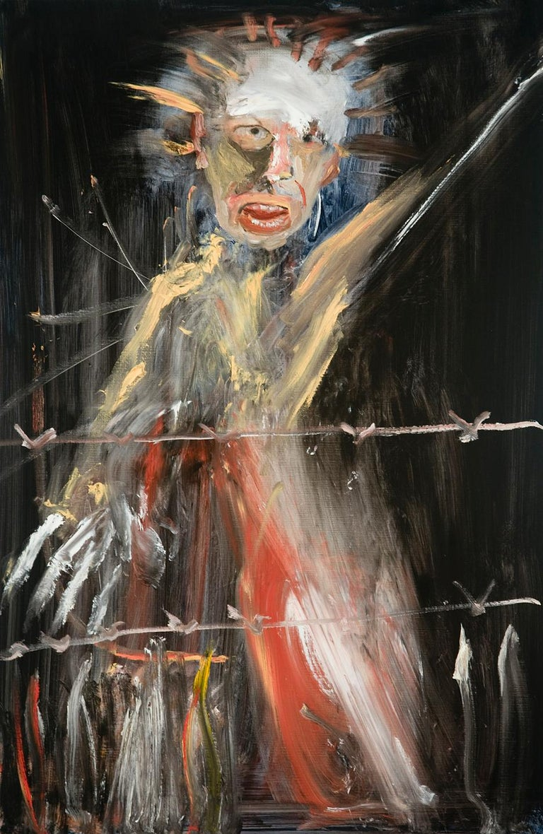 Michael Hafftka, Barbed, man fleeing war, caught behind wire, political art - Painting by Michael Hafftka