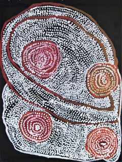 Warmurrungu, Aboriginal red white abstract dot painting of emus and landscape