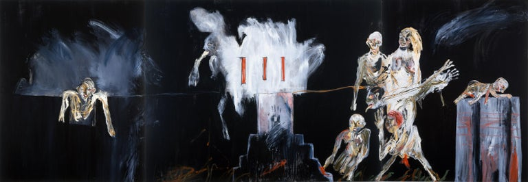 Michael Hafftka The Selecting Hand, expressionist painting Holocaust selection