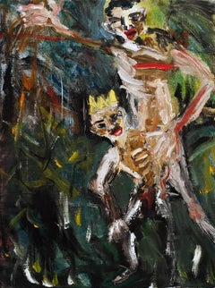 """""""Spare the Rod"""", figurative oil painting of man and child wearing a crown"""