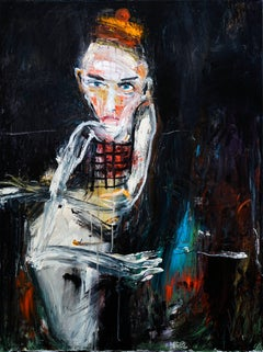 """""""A Hug"""" by Michael Hafftka. Figurative oil painting of seated man"""