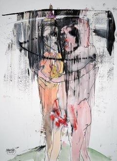 """""""Sharing"""" by Michael Hafftka. Watercolor painting of two figures on paper."""