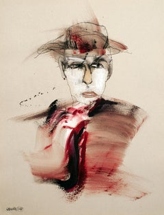Magician Watercolor portrait of a man in a black hat dressed in red
