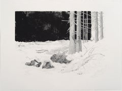 """Schneise 1"", woodblock print with pencil of forest clearing"