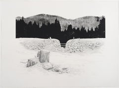 """Schneise 2"", woodblock print with pencil of forest clearing"
