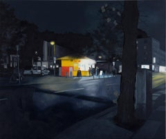 """Imbiss"", painting of a diner at night in the manner of Edward Hopper"