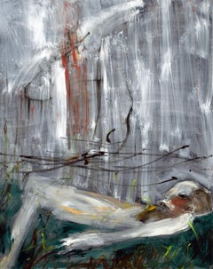 """Crushed"", figurative oil painting of person lying in a field"