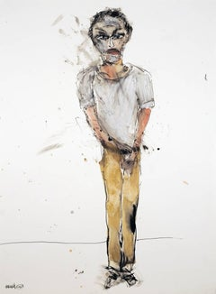 Michael Hafftka, Self Portrait, standing man, watercolor painting on paper.