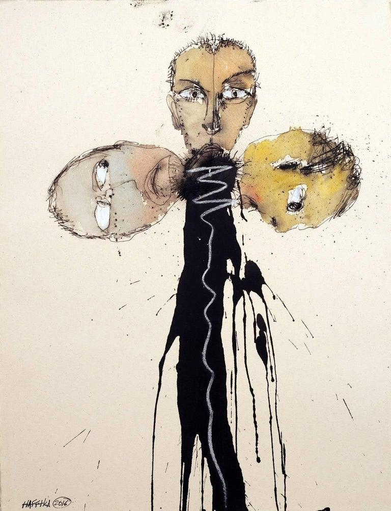 Michael Hafftka, Three, surrealist figurative watercolor of three male heads