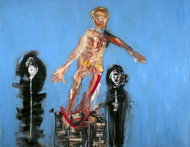 Michael Hafftka, Ancestors, contemporary figurative oil painting of falling man