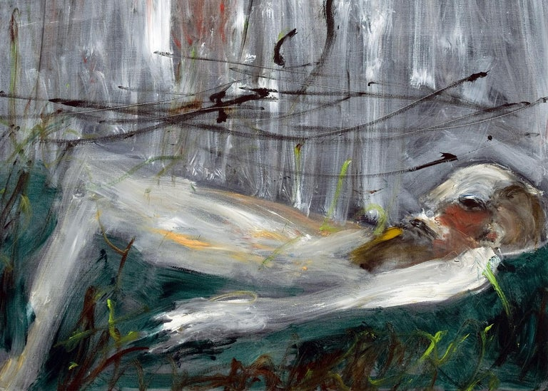 Michael Hafftka, Crushed, Holocaust related painting person lying in a field - Contemporary Painting by Michael Hafftka